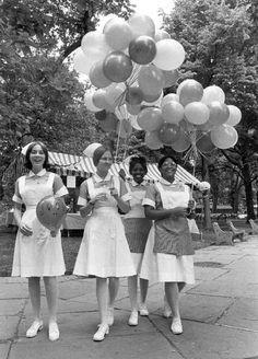 """Students of the Pennsylvania Hospital School of Nursing enjoying the festivities of """"Hospital Day,"""" June 10, 1970. """"Hospital Day"""" was an annual event, sponsored by the Pennsylvania Hospital, celebrating the Hospital and the Community as a whole. Photo by Robert S. Halvey, Hospital Photographer."""