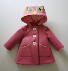 Rosie Owl Girls Coat by littlegoodall on Etsy