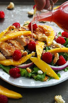 Raspberry Mango Chicken Cashew Salad