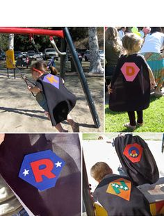 Kids make their own super hero capes during the birthday party!