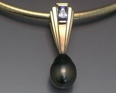 14k yellow pendant with Tahitian Pearl drop and Tanzanite baguette