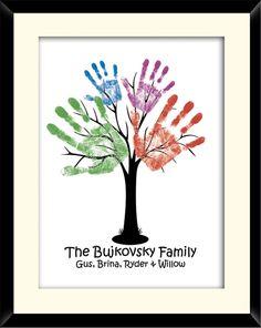 Family hand tree:) neat idea. Need to do this