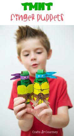 Teenage Mutant Ninja Turtle toilet paper roll finger puppets- cowabunga!