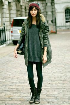 jacket, fashion, sweater dresses, street styles, winter outfits, oversized sweaters, coat, parka, combat boots