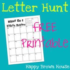 Letter Hunt Free Printable   happybrownhouse.com