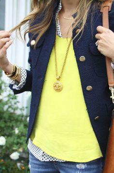 yellow / navy / polka dots /