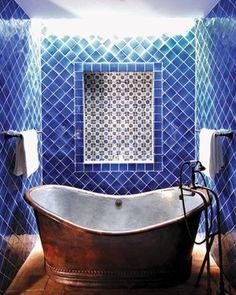 Casa de Sierra Nevada hotel with antique Talavera tile walls.    #tile #bathroom