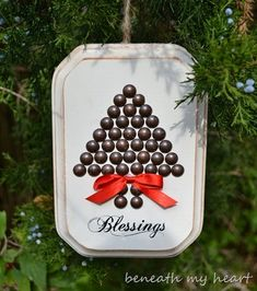 DIY Christmas Tree Art, from painted wood, round tacks, a stamp and ribbon. #easy #craft #ornament #cute #simple