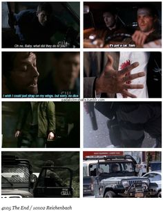 """10x02 Reichenbach / 5x04 The End [gifset] - Dean not taking care of Baby? [check]; Castiel not very angel-y? [check]; Thigh holsters worn by dangerous men? [check]; Jeeps used for hunting? [check] = *sings* """"It's the end of the world as we know it..."""" - Cole Trenton, Sam and Dean Winchester, Supernatural - couldn't resist, I love anything referencing The End episode XD"""