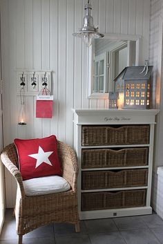 lantern, wicker baskets, pillow, old dressers, white, bookcas, star, reading nooks, hous