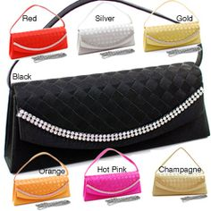 @Overstock.com - Dasein Rhinestone Detail Clutch Handbag. This elegant satin clutch handbag is perfect for a formal event or a night on the town! Glittering rhinestones provide lots of bling, while the woven design offers a sophisticated look. Seven fashionable colors will let you easily match any ensemble!http://www.overstock.com/Clothing-Shoes/Dasein-Satin-Rhinestone-Detail-Clutch-Handbag/6499871/product.html?CID=214117