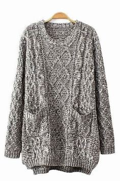 Gray Oversize Sweater With Pockets