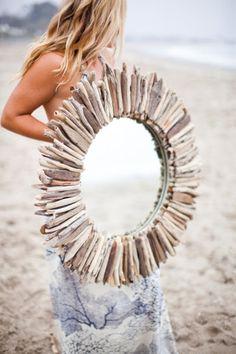 decor, driftwood mirror, mirrors, idea, craft, layer round, beach, doubl layer, diy