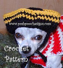 pirat dog, dog hat, crochet pattern, dog accessori