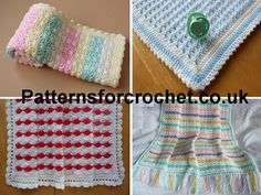 Cute Baby blankets, easy projects to pick up and drop if your on vacation/hols etc. http://patternsforcrochet.co.uk/baby-blankets.html #patternsforcrochet #freecrochetpatterns