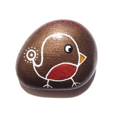 `Christmas Robin painted stone/paperweight by Ludibund on Etsy, $10.00~