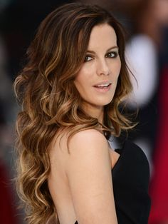 Long hair: Kate Beckinsale - keep your longest layer just above the bra strap, and create some  dimension with a soft ombre that also pulls your darker tones through the ends of your hair. hair colors, ombre hair, kate beckinsale, long hair, curl, beauti, hairstyl, beauty, highlights
