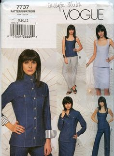 Vogue Out of Print Pattern 7737 Jacket Skirt Pants Top with lace up back ....4 Stretch Fabrics
