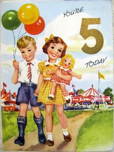1950s Vintage Circus Card for 5 Year Old