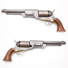 The Heavy Holy Grail of Colt Revolvers- The rare Colt Walker Model 1847 is a 6-shot, single-action revolver weighing in at 4-1/2 lb  measuring a 1-1/2' in length.  It was the weighty brainchild of Samuel Colt  Samuel Walker. Walker met with Colt in the 1840s to propose improvements to the Colt Paterson revolver...the result was the Colt Walker. Fewer than 10% of the 1,100 are known to exist today. Due to their rarity, these guns are the Holy Grail of Colt revolver collecting. NRA Museums.