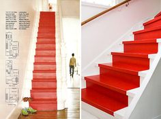 red faux runner on white stairs