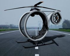 Concept of a mini-helicopter ZERO. The envisage mode of land/air transport of the future.