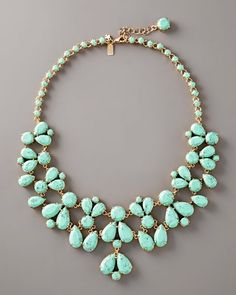 teardrops of turquoise. I want this. mint green, statement necklaces, color, dress, something blue, turquoise jewelry, bib necklaces, kate spade, chunky necklaces