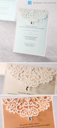 Jeweled Laser Cut by B Wedding Invitations  #weddinginvitations  #invitations  #wedding  #winterwedding  #lasercut  #bweddinginvitations