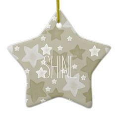 Gold Watercolor Stars Ornament