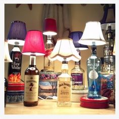DIY Liquor Bottle Lamps for the MAN CAVE! Great idea for your man and a fun Father's Day Gift idea too! #DIY #ManCave #FathersDay