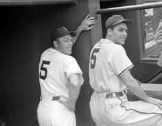 (l to r:) Boston Red Sox Vern Stephens and Cleveland Indians manager Lou Boudreau.  Approximately 1949.