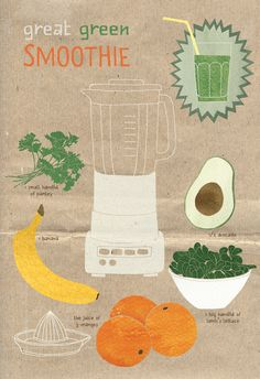 green #smoothie with lamb's lettuce, avocado, #banana, parsley and #orange #juice