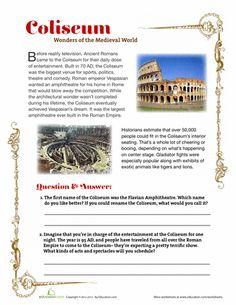 Free Printable Roman Coliseum Worksheet (4th grade level)
