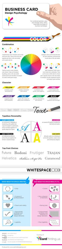 The #Psychology of #Business Card #Design -- This #infographic focuses on the 3 most important elements of a business card: #Color, #Text, and #Whitespace, and how these 3 can be used to make an effective business card. Learn more #business best practices at http://ringit.us/h2col