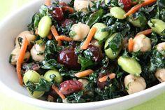 Kale Edamame Cranberry Salad