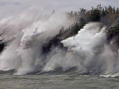 Fierce Lake Superior waves pound Minnesotas north shore
