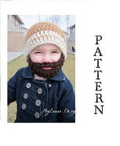 Pattern for bearded crochet hat.  Too cute!