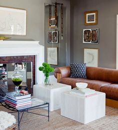 camel leather and smokey grey walls