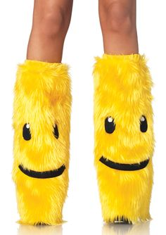 happy faces, face leg, rave wear, smiley, furri happi, yellow leg, legs, happi face, leg warmers