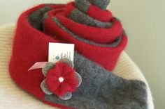 Soft Beautiful Red and Gray Cashmere Scarf made from by sbretro, $40.00