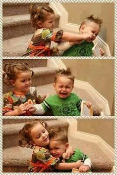 Brother - sister relationship.  Awww these kids r super cute