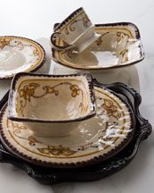 Beautiful Italian made set with brown trim... my first dishes were brown and my bone china Swallow by wedgewood has brown in the trim...love!
