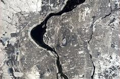 A shot of home (© Chris Hadfield/NASA photo) City of Montreal from space