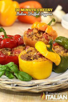 30 Minute Cheesy Stuffed Italian Peppers from theslowroasteditalian.com #dinner #recipe