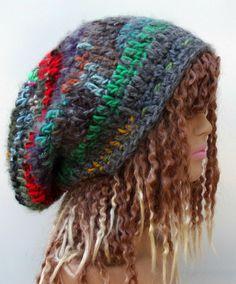 Large warm Patchwork hippie dread tam slouchy by PurpleSageDesignz, $24.00