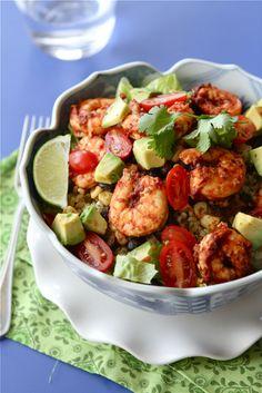 Chipotle Shrimp Salad Bowls with Avocado, Black Beans & Corn