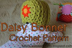 Katie Cooks and Crafts: Daisy Bonnet Crochet Pattern