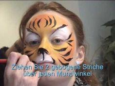 Tiger schminken / Tiger Kinderschminken Vorlage / Video Anleitung