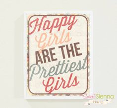 Vintage Happy Girls Nursery decor baby by SweetSiennaPrints