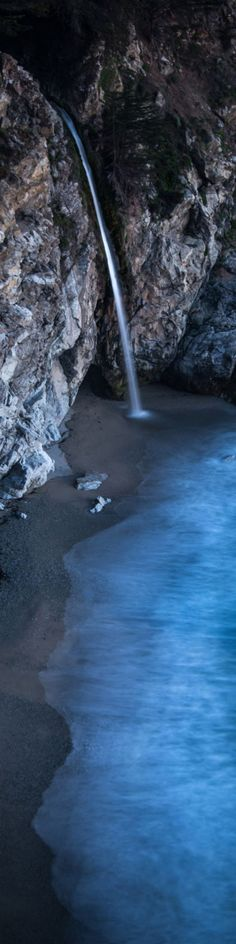"""A Beautiful Waterfall in Big Sur, California - from the Exhibition: """"Cropped for Pinterest"""" - photo from #treyratcliff Trey Ratcliff at http://www.StuckInCustoms.com"""